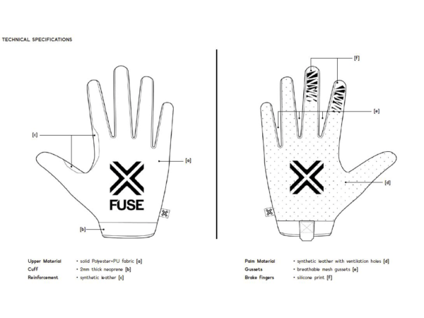 omega fuse gloves black guide taille size achat